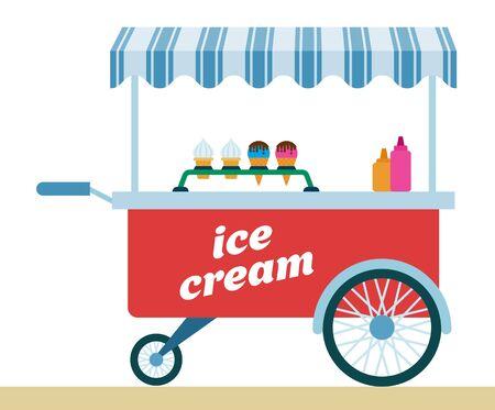 Carport trolley for ice cream vector flat icon isolated on white Ilustração