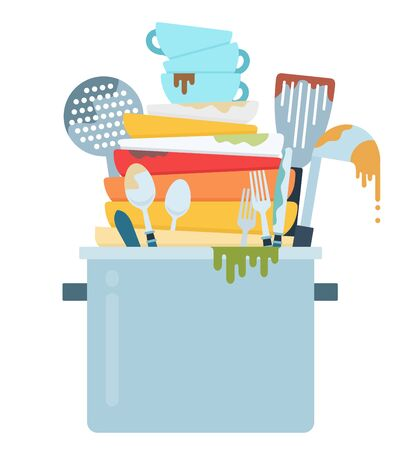 Mountain of dirty dishes vector icon flat isolated