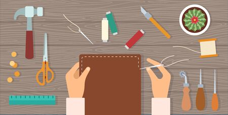 Man hands sew a leather notebook cover and tools around on a table vector icon flat isolated