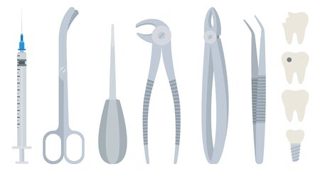 Dental tools vector illustration in flat design. Set dental equipment for tooth extracting.