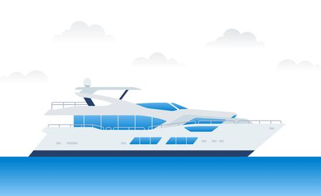 Modern motor yacht for relaxing and traveling on blue water vector illustration in a flat design. Ilustrace