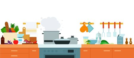 Interior modern kitchen with furniture and built-in appliances vector illustration in a flat design.