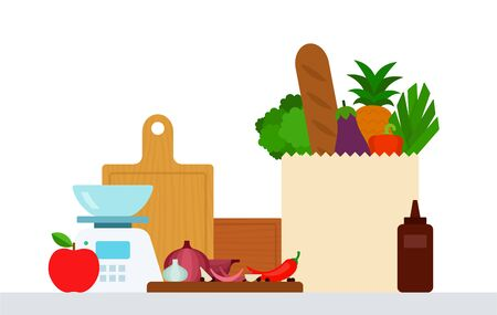 Set of products on the table and kitchen utensils vector illustration