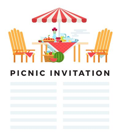Picnic invitation. Vector flat illustration with space for text. Concept summer picnic.