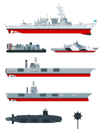 Military ships vector flat icons. Different types of naval combat ships set, military boats, ships.