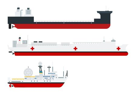 Illustration of different types of ships, cargo, hospital and research vessel vector illustration