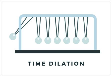 Time dilation concept, pendulum made of balls vector illustration in a flat design