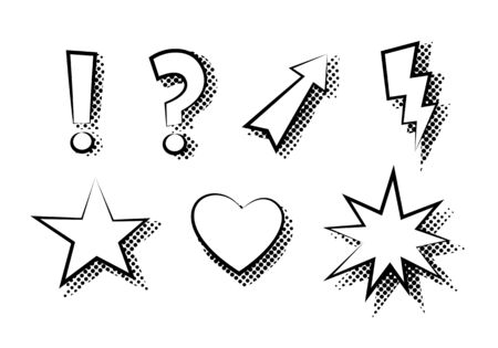 Set of exclamation, question, arrow, lightning, star, heart, explosion flat icon vector isolated