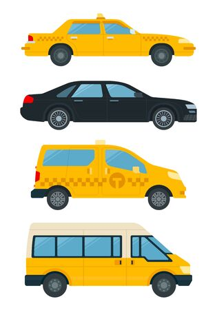 Collection transport for service taxi vector icons in flat design. Taxi service concept. Vetores