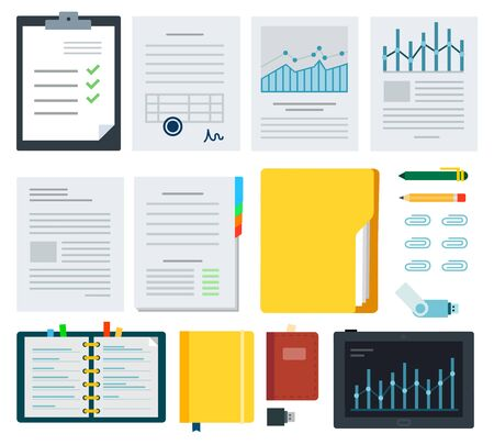 Collection documents, stationeries and laptop vector illustration in flat design. Ilustración de vector