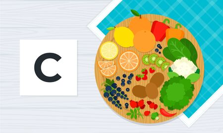 Vitamin C vector flat illustrations. Products with the maximum content of calcium.