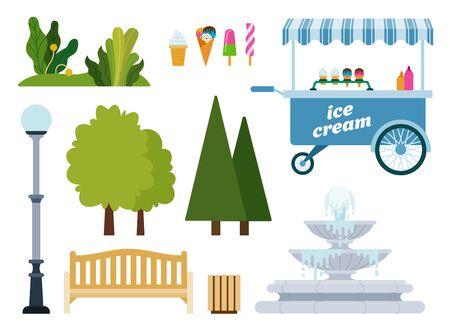 Set of Urban Park objects flat vector illustration.