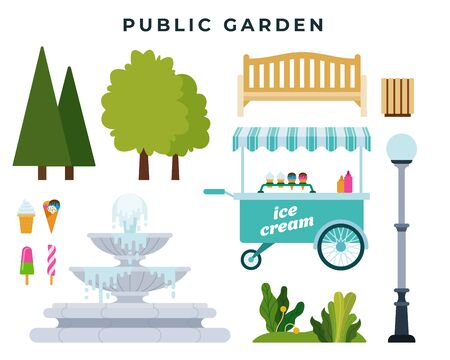 Public garden or park constructor. Set of different park elements trees, bushes, bench, fountain and other objects. Vector illustration.