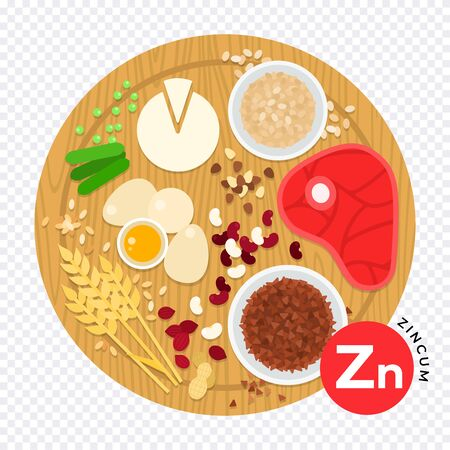 Vitamin Zn vector illustration in flat style. Products containing zincum. Healthy lifestyle and diet concept. Vitamin Zn - meat, corn, eggs, haricot, nuts, peas, oatmeal on transparent background.