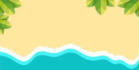 Blue ocean with wave and foam on sandy beach vector illustration in flat design.
