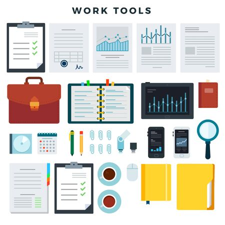 Office work tools. Paperwork and business work elements, set. Mobile devices and documents. Vector illustration. Vettoriali