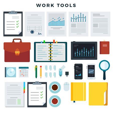 Werkzeuge für die Büroarbeit. Papierkram und Geschäftsarbeitselemente, Satz. Mobilgeräte und Dokumente. Vektor-Illustration. Vektorgrafik