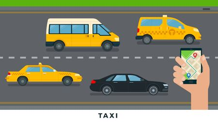 Taxi service. City transport service flat design vector illustration.