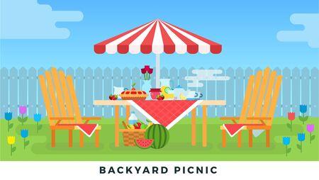 Picnic in summer on backyard. Vector flat illustrations. Outdoor picnic under an umbrella.