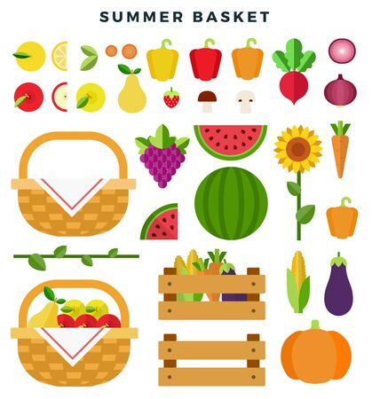 Summer basket with fresh fruits and vegetables. Healthy eating concept. Fruits, vegetables, sunflower, isolated on white background. Vector flat illustration.
