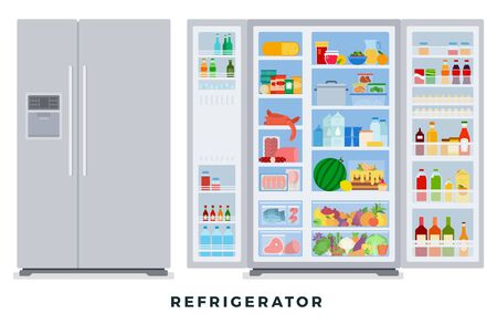 Réfrigérateur fermé et ouvert avec de la nourriture. Illustrations vectorielles à plat. Groupes de produits au réfrigérateur.