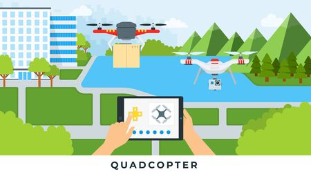 Illustration of controlling quadrocopters with tablet on nature background vector flat icon isolated