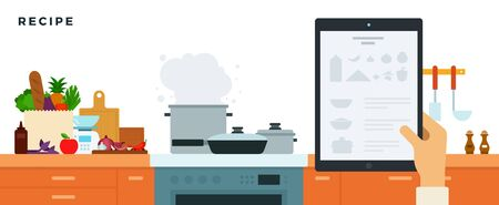 Kitchen with built-in furniture, appliances, utensils and a tablet with recipes vector illustration