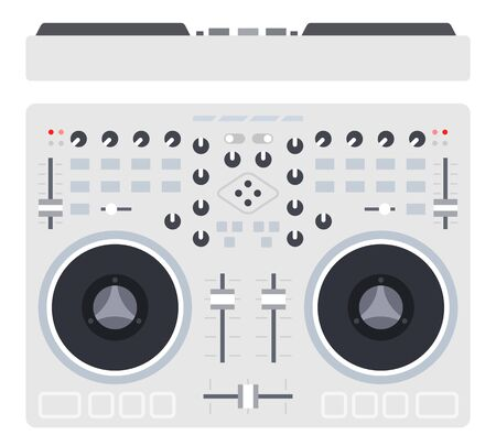 Mixer is an electronic device designed to mix sound signals Musician flat icon vector isolated. Vettoriali