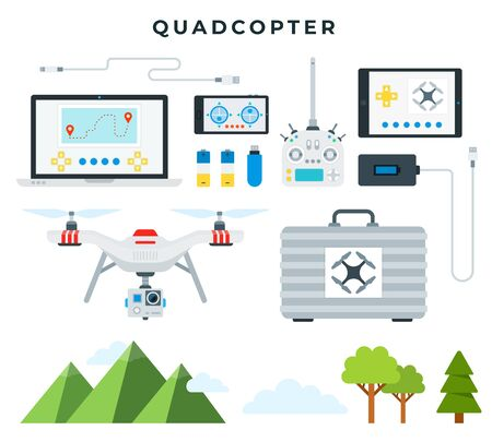 Quadcopter and all necessary accessories. Drone ready to fly, landscape elements, collection, isolated on white background. Vector illustration.