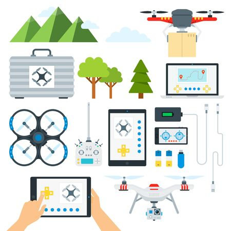 Set of Drone Tools flat vector illustration.