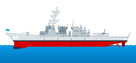 Military cruiser. Warship rides on the sea. The missile cruiser sets sail. vector icon flat isolated.