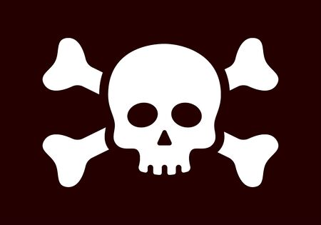 Threatening skull and crossbones sign vector icon flat isolated
