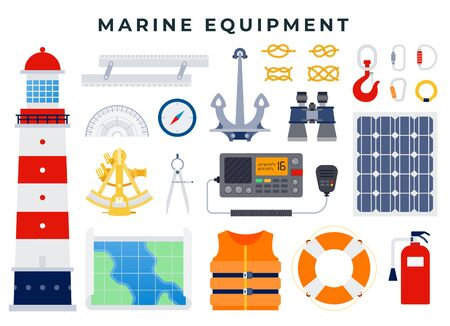 Nautical and marine icons in flat style. Lighthouse, anchor, binoculars, lifebuoy, life jacket, hook, knots, carbines, compass, map, protractor. Vector illustration in flat style. 일러스트