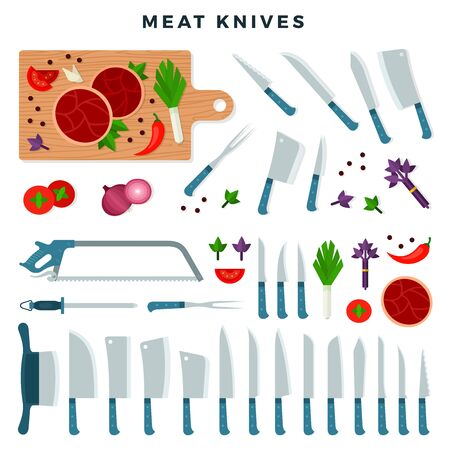 Meat cutting knives, set. Meat equipment, pieces of meat, vegetables and condiments on the cutting board. Set for butcher shop or restaurant. Vector illustration in flat style.