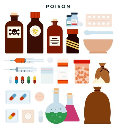 Poison, toxic substances, meds, liquids, tablets, capsules, powders in different forms. Set of vector icons, isolated on white background.