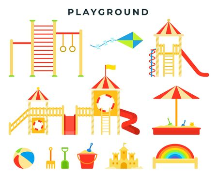 Children entertainment playground with sandbox, slide, horizontal bar, ladder, swing, toys. Children s game place. Vector illustration.