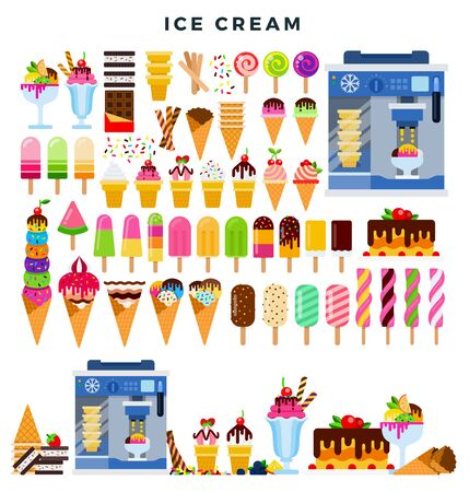 Big colorful Ice cream collection, set of vector elements, isolated on white.