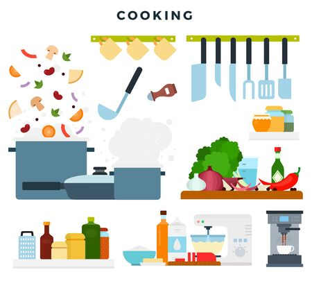 Set of illustrations, showing the cooking process. Ingredients and kitchen utensils. Vector illustration. Banco de Imagens - 150497230