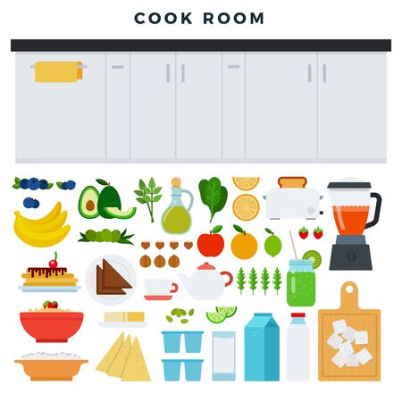 Concept of modern kitchen. Working area of the kitchen, some food and utensils for cooking process. Kitchen furniture and collection of products for food preparation. Vector illustration.