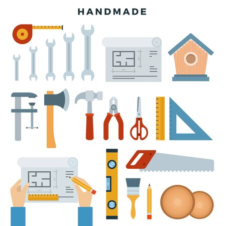 Handmade concept illustration. Working tools, set. Repair and construction instruments collection. Do it yourself, tools. Vector illustration.