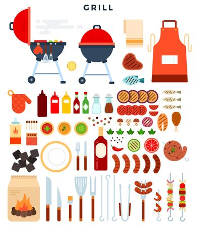 All for grill, big set of elements. Different special tools and food for barbecue party. Grilled vegetables, meat, sausage, fish, chiken, kebab, sauces, charcoal, apron, skewer. Vector illustration.