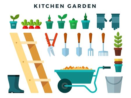 Tools and equipment for working in the kitchen garden, flat icons set. Cart, ladder, rake, hoe, shovel, bucket, rake, seedlings, boots, gloves, secateurs, shovel, pots, bucket. Vector illustration.