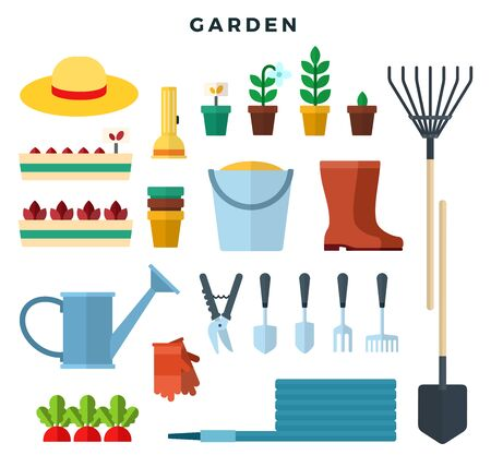 Gardening tools and equipment, flat icons set. Elements for working in the garden bucket, rake, seedlings, boots, hat, gloves, secateurs, seeds, shovel, watering can. Vector illustration. 일러스트