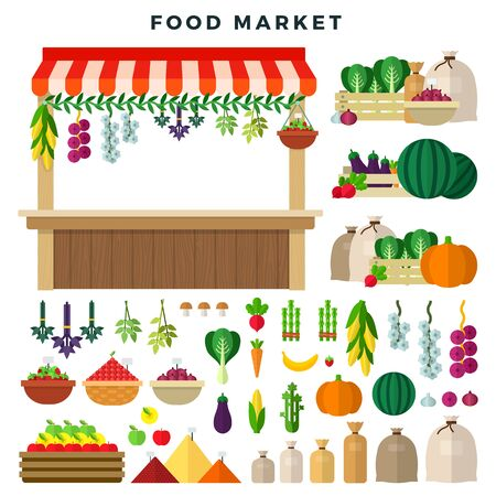 Farm food market, set of elements. Local stall market. Selling vegetables, fruits and berries. Fresh organic food. Vector illustration in flat style. 向量圖像