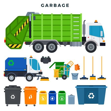 Garbage collection and disposal, set. All for garbage removal. Garbage truck, trash can, dumpster, urn, sweeper, cleaner cart, broom, brush, bucket, gloves, garbage bags. Vector illustration