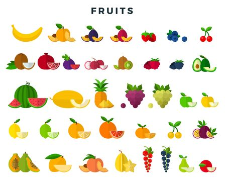 Big set of fruits and berries, whole and slices. Fruit icons collection. Vector illustration in flat style.