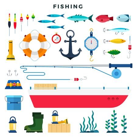Everything for fishing, set of elements isolated on white. Boat, hooks, bait, anchor, float, anchor, lifeline, flashlight, scales, bucket, boots, etc. Vector flat illustration.