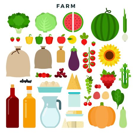 Farm vegetables and dairy products vector flat icons set with cabbage, broccoli, berries, cream, cheese, cereals, pepper, potatoes, zucchini, beet, pumpkin, grapes. Isolated on white background.