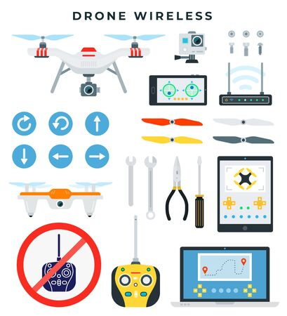 Drone with wireless control. Quadcopter and all necessary accessories and tools for assembly and repair. Drone details. Flat vector illustration.