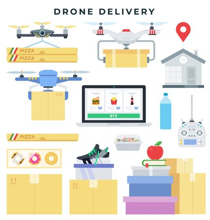 Drone delivery concept, set of elements. Drone delivers packages with various goods. Vector illustration in flat style.